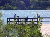 Fishing from a dock in Washington County Parks.