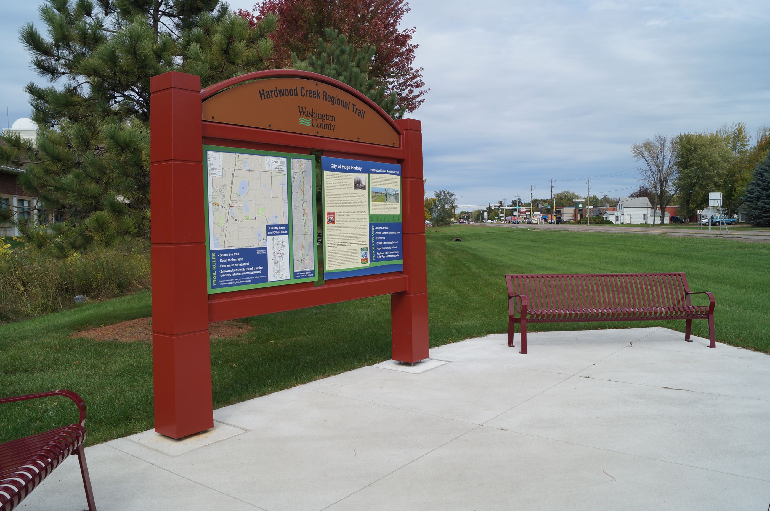 Informational kiosks and benches at rest stop added to Hardwood Creek Regional Trail