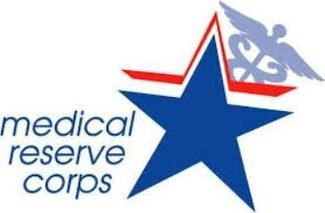 Medical Reserve Corp logo with blue star and red shadow background