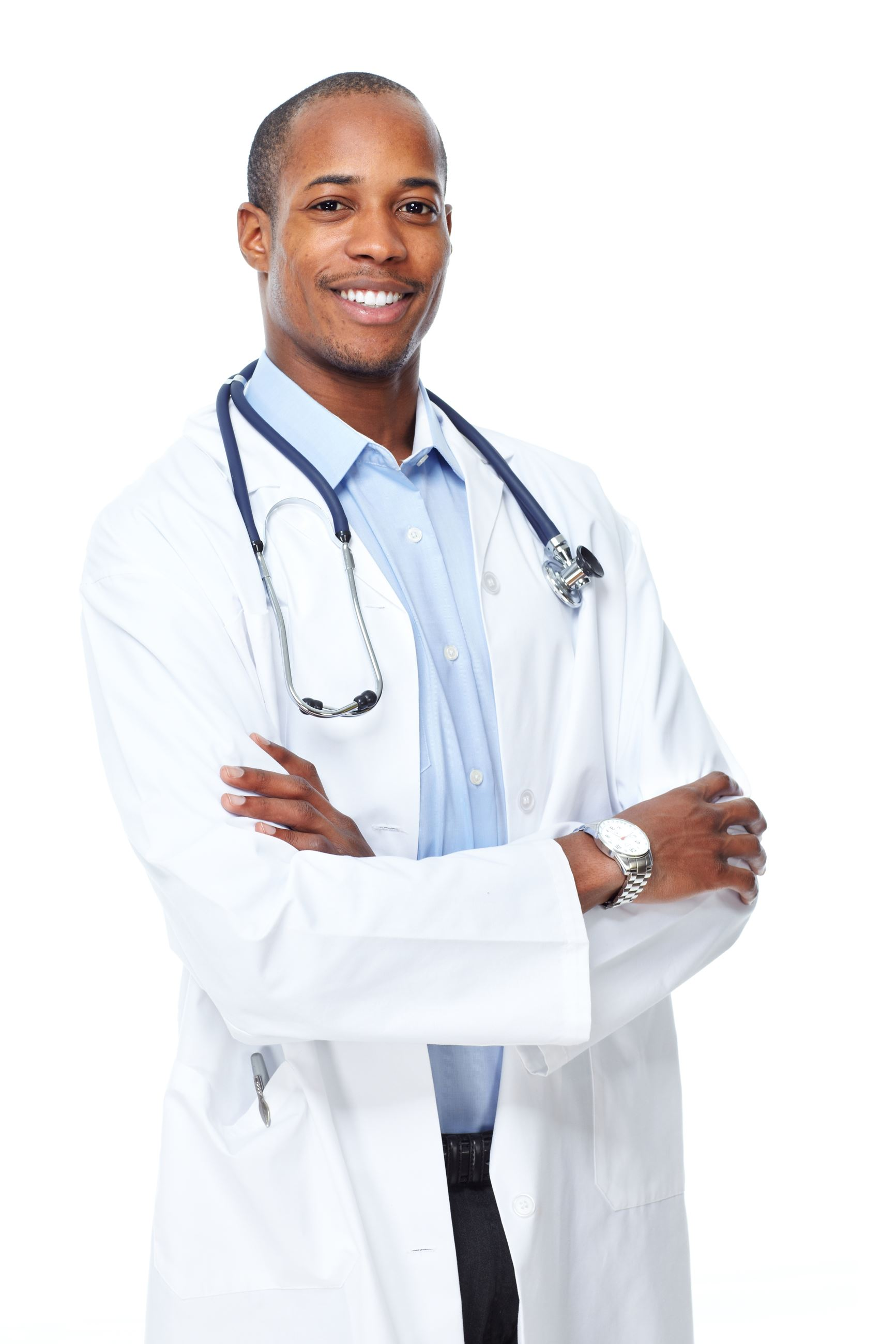 Male doctor wearing white coat with arms crossed, smiling
