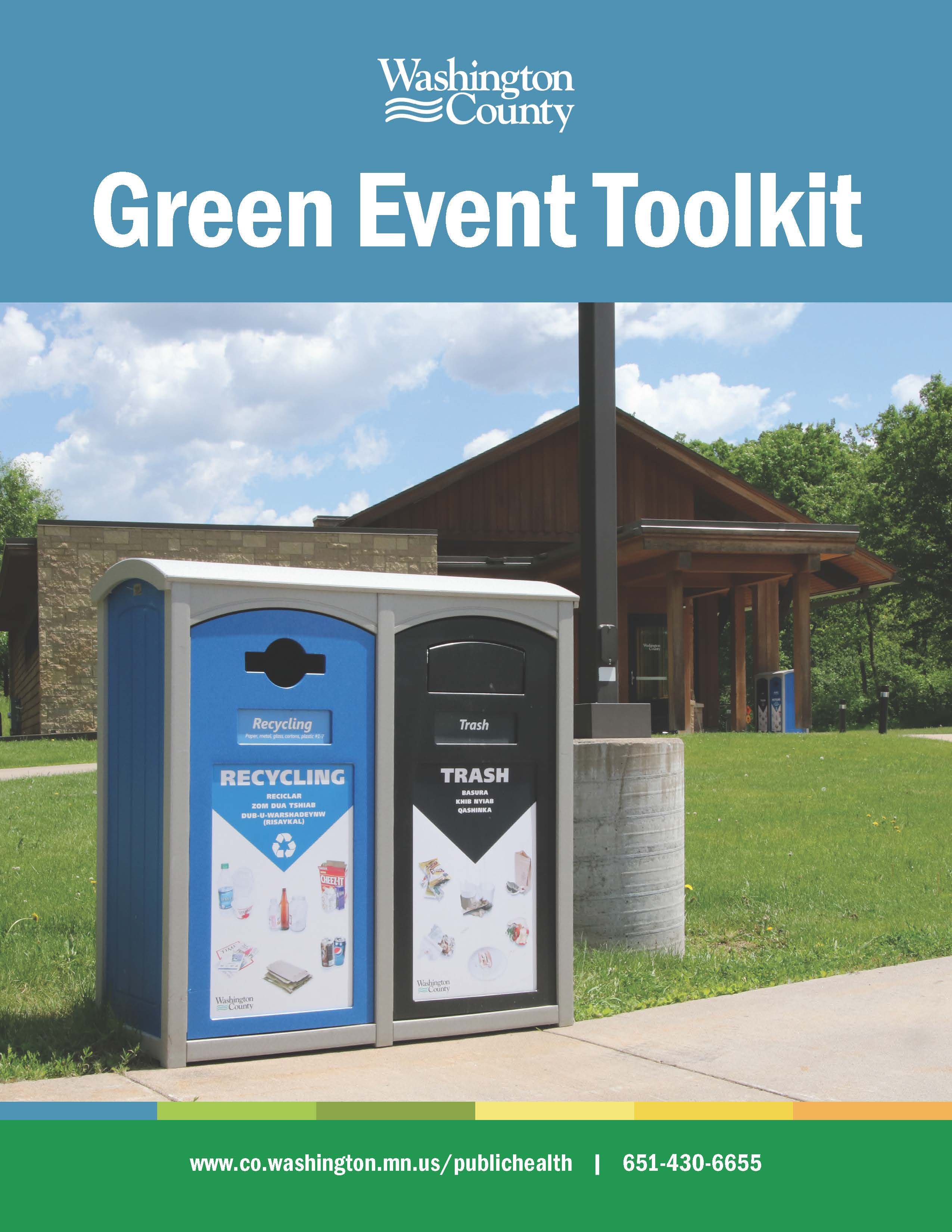 Front cover of Green Toolkit, park with green grass, recycling bin and trash bin