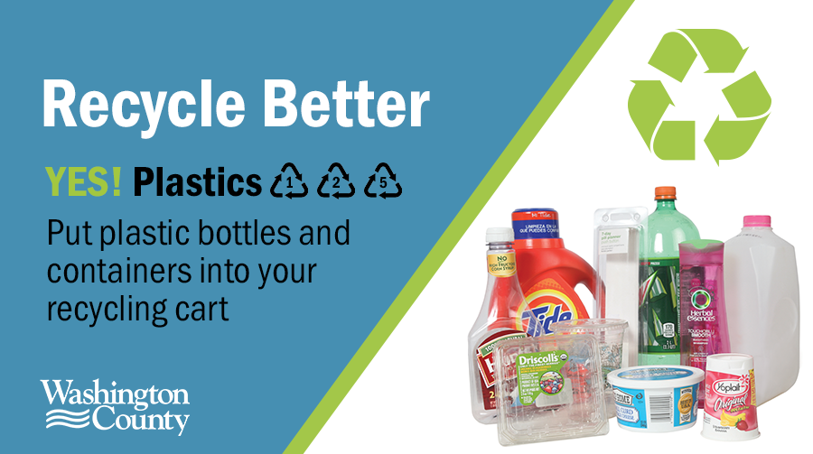 Put plastic bottles and containers labeled 1, 2, and 3 into your recycling cart.