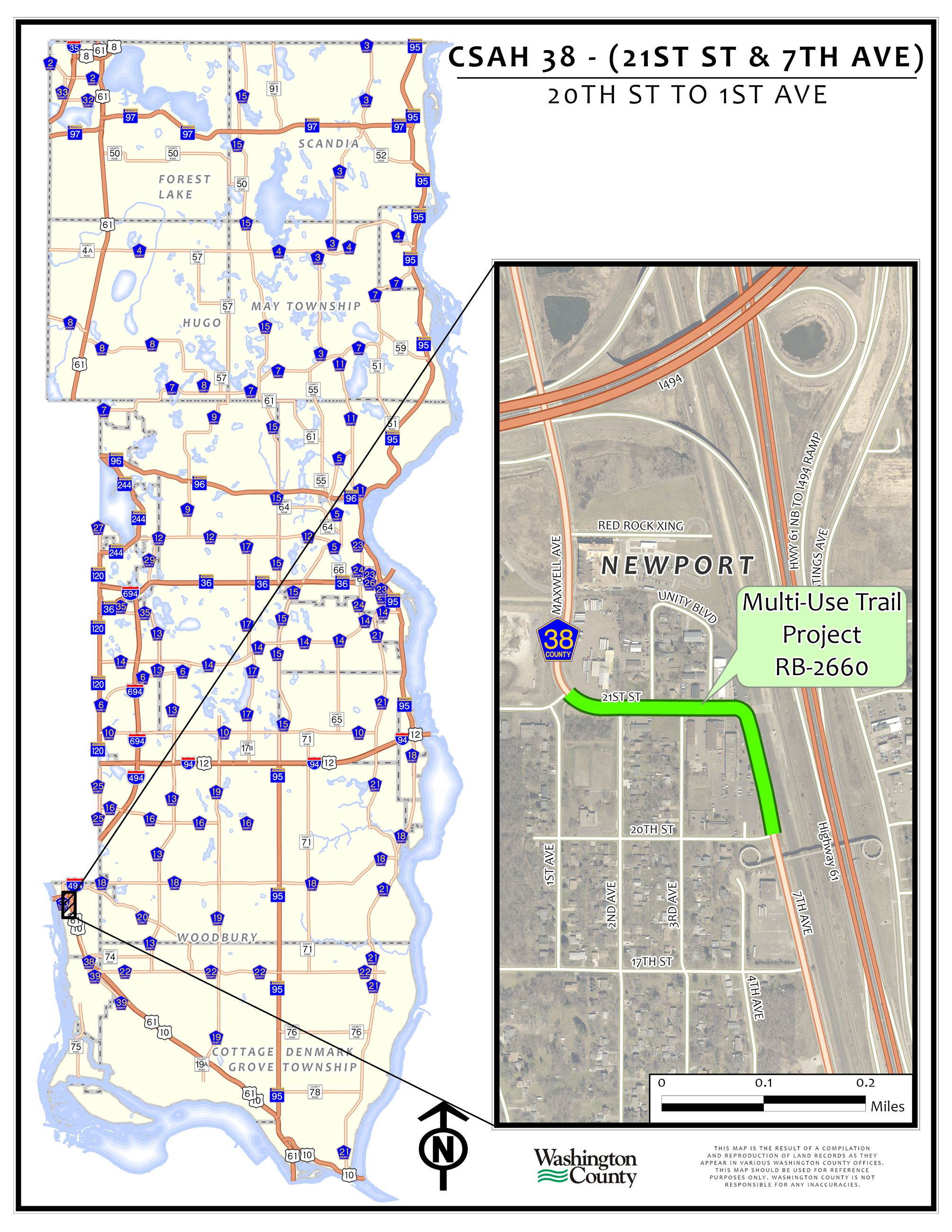 CSAH 38 - 20th St to 1st Ave Location Map