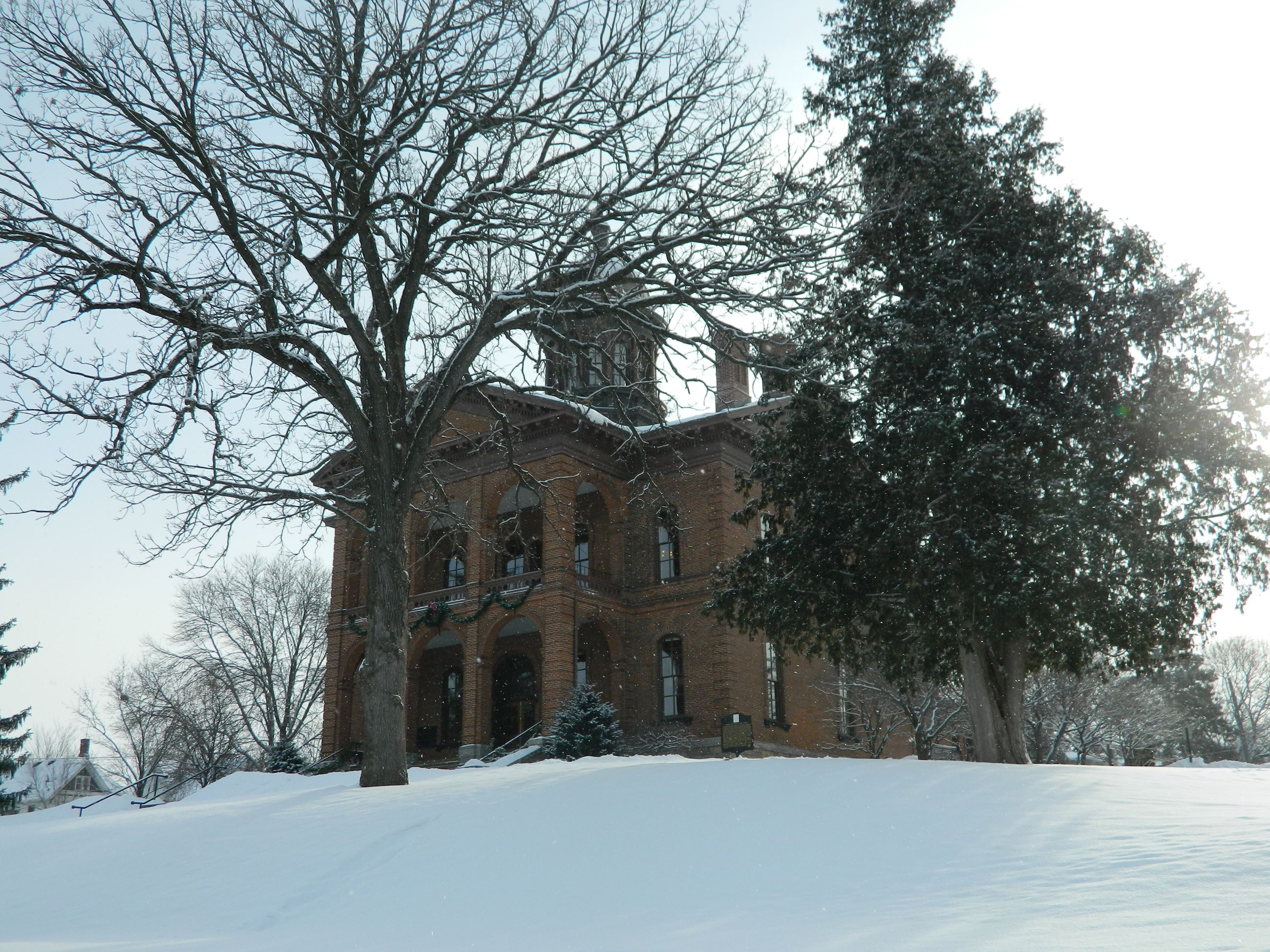 Looking up at the Historic Courthouse from the northeast corner of the grounds. Snow is on the ground. The building is seen through the branches of a leafless oak tree and a pine tree is on the right