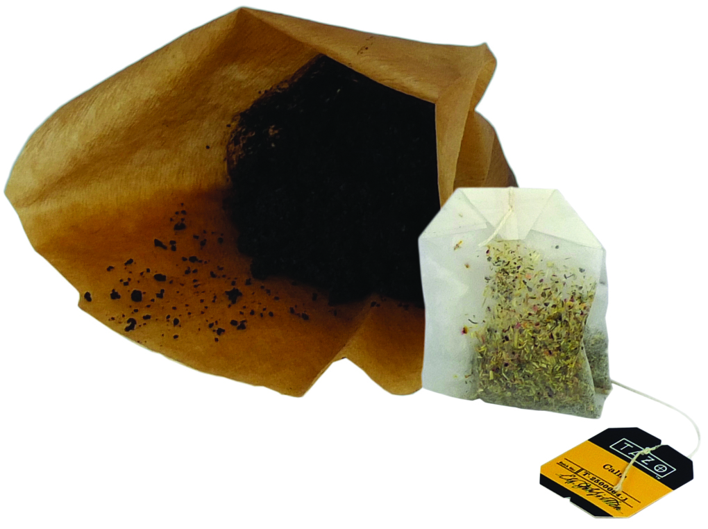 Coffee grounds and tea bag
