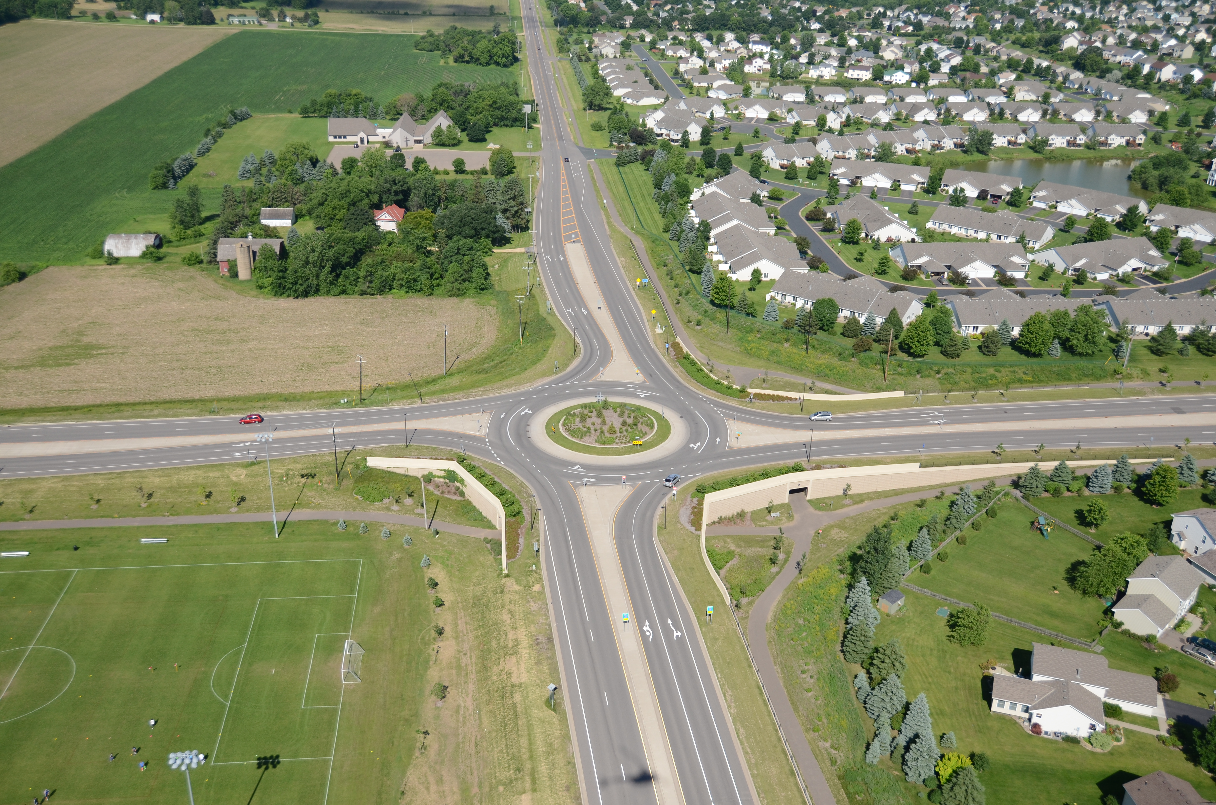 1438 CSAH 18 at CSAH 13 Radio Dr Roundabout